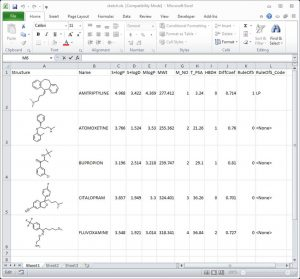 Structures and properties exported and displayed in Excel