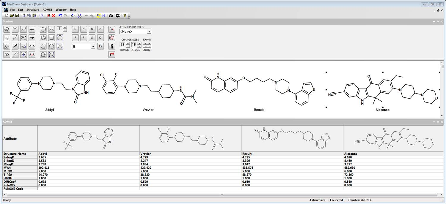 Free Chemical Structure Drawing Software Adme Properties Tpsa The Encyclopedia Electronic Circuit Design A Few Drugs Approved In 2015 Displayed Medchem Designer User Interface Includes Pulldown Menus Quick Access Icons And Controls For Various