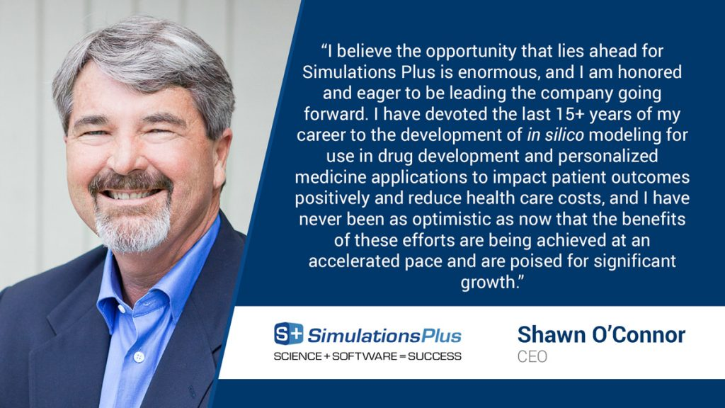 Simulations Plus Names Shawn O'Connor as CEO